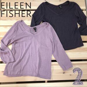 Pair Eileen Fisher Purple Lilac Lightweight Knit